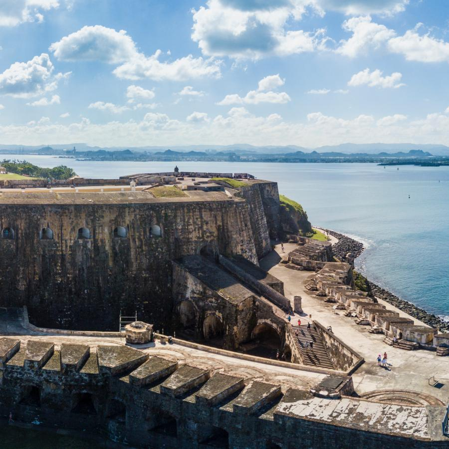 Aerial panorama view of El Morro Fort in San Juan.