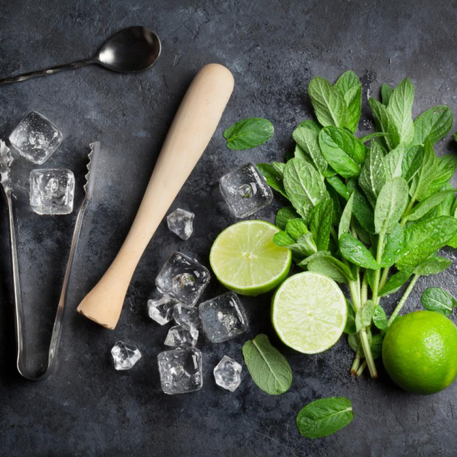 A display of mint leaves, limes, and cocktail tools for making mojitos.