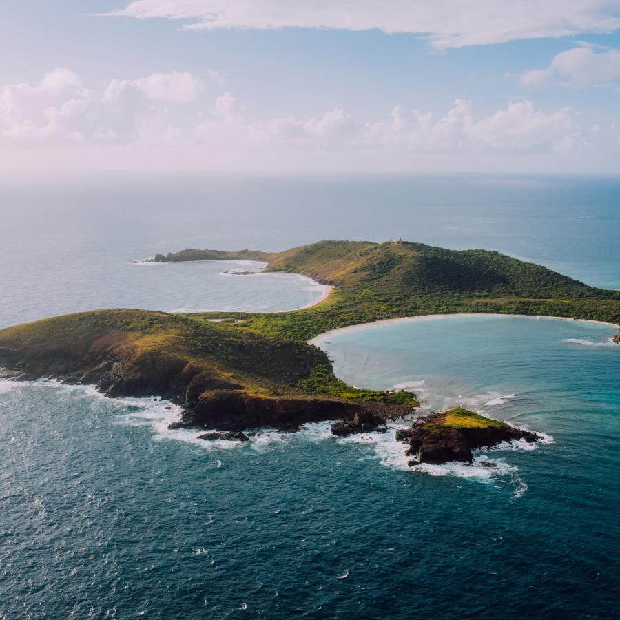 An aerial shot of the island of Culebra, off the coast of Puerto Rico.