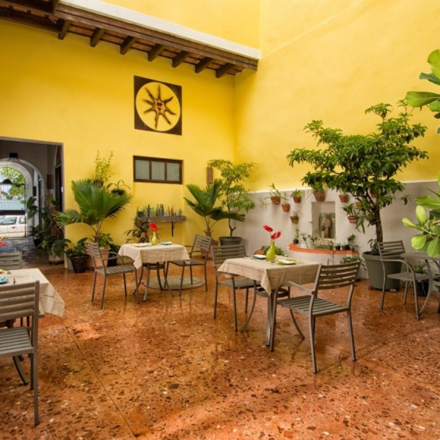 Inner courtyard view at Casa Sol Bed and Breakfast in Old San Juan.