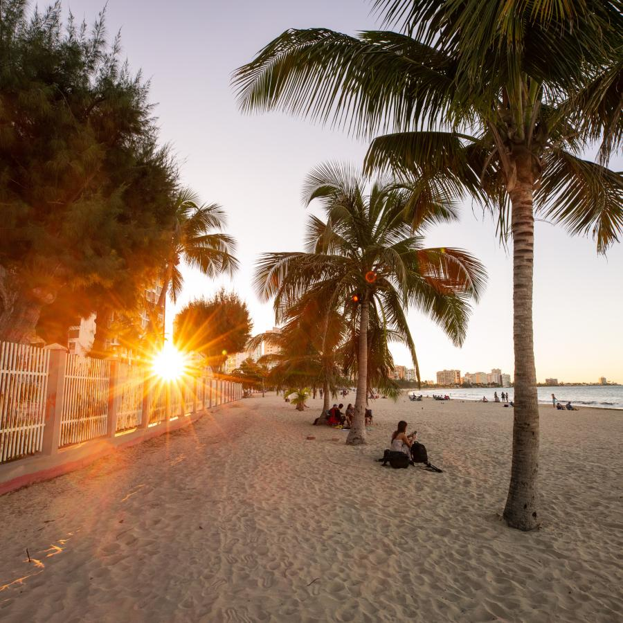 The sun sets behind the palms at Isla Verde Beach in Carolina, Puerto Rico.