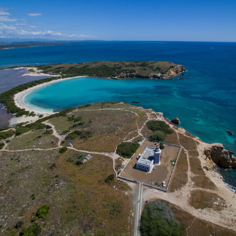 An aerial view of Los Morrillos Lighthouse and Cabo Rojo National Wildlife Refuge.