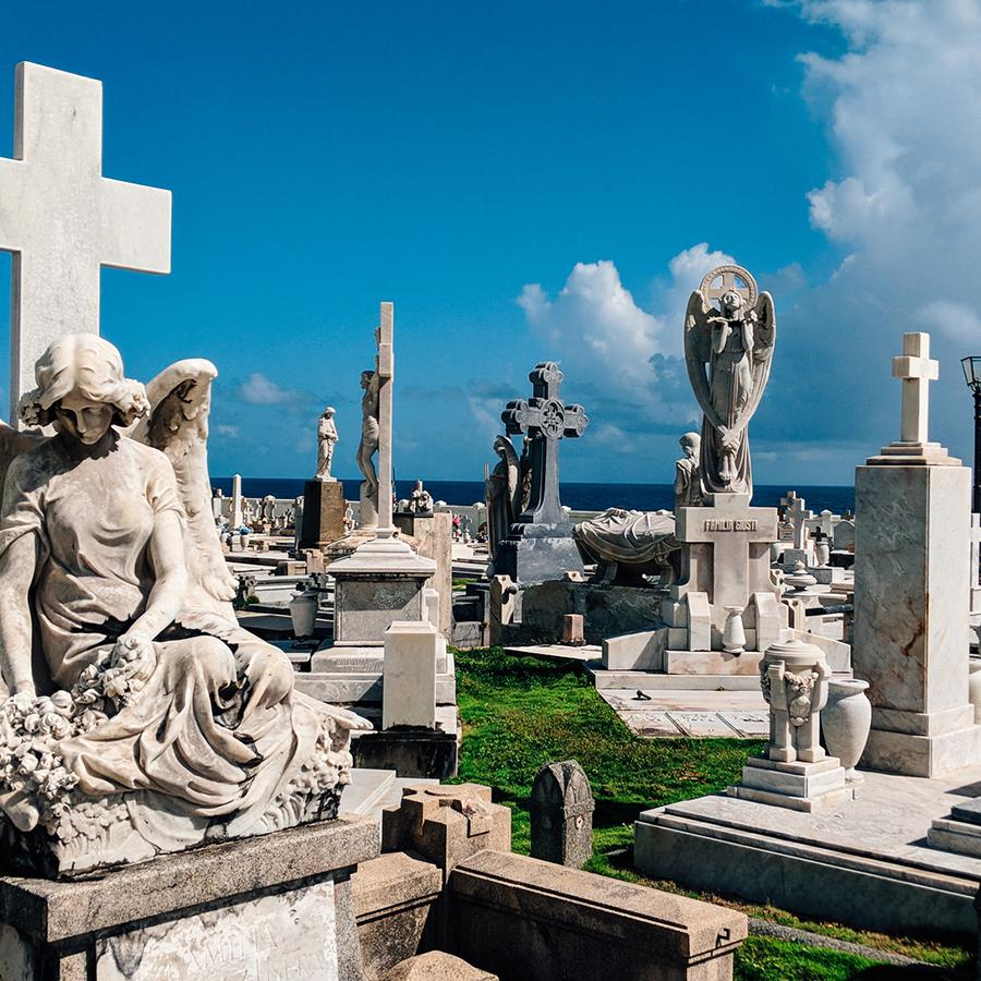 View of the historic Santa María Magdalena de Pazzis Cemetery in Old San Juan.