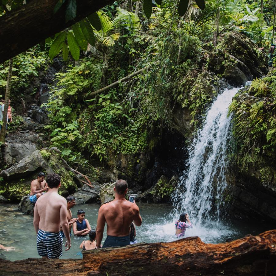 overview of the waterfall at El Yunque