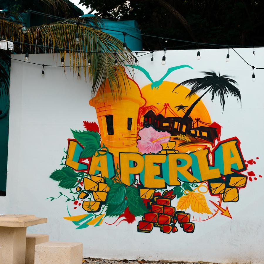 A colorful mural in La Perla neighborhood.