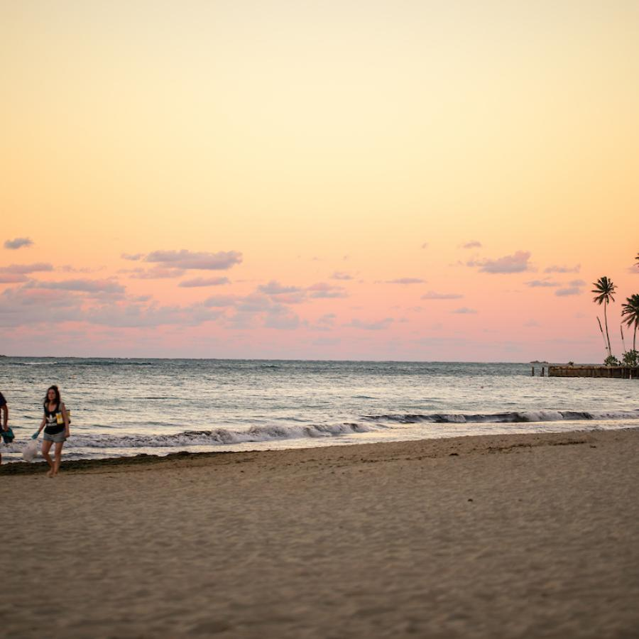 Isla Verde Beach at sunset