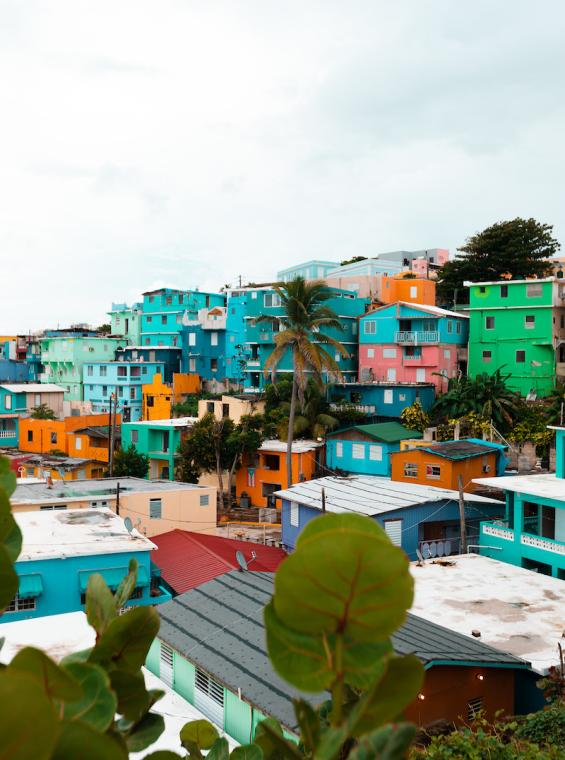 View of colorful houses in La Perla neighborhood.
